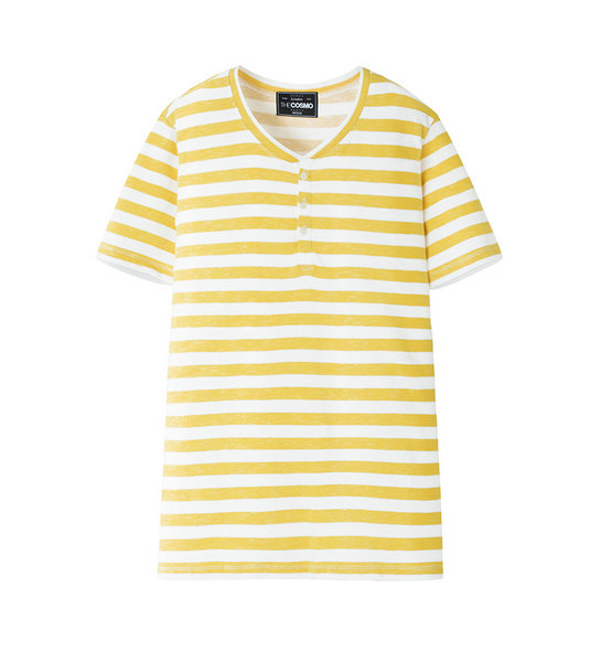 HENLEY STRIPE TEE (YELLOW)