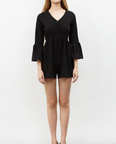 BELL SLEEVE JUMPSUIT (BLACK)