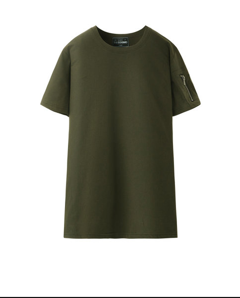 T-SHIRT WITH ZIP (MOSS)