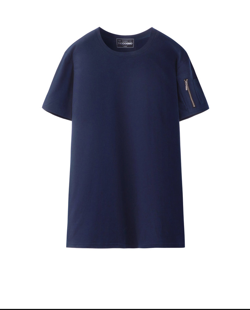 T-SHIRT WITH ZIP (NAVY)