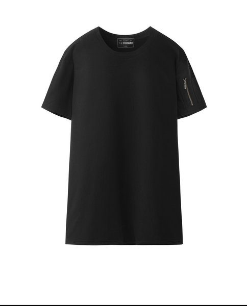 T-SHIRT WITH ZIP (BLACK)