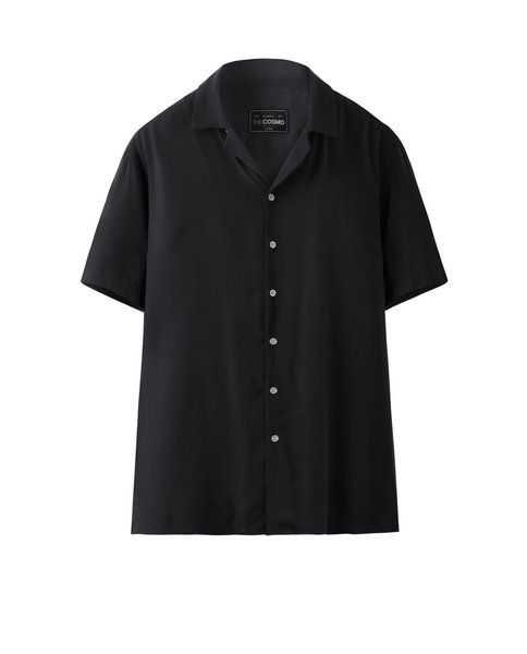 SOLID VISCOSE SHIRT (BLACK)