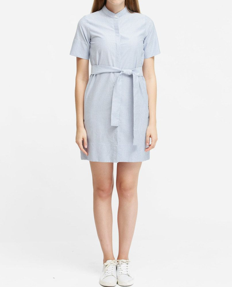 MANDARIN COLLAR DRESS (SKY)