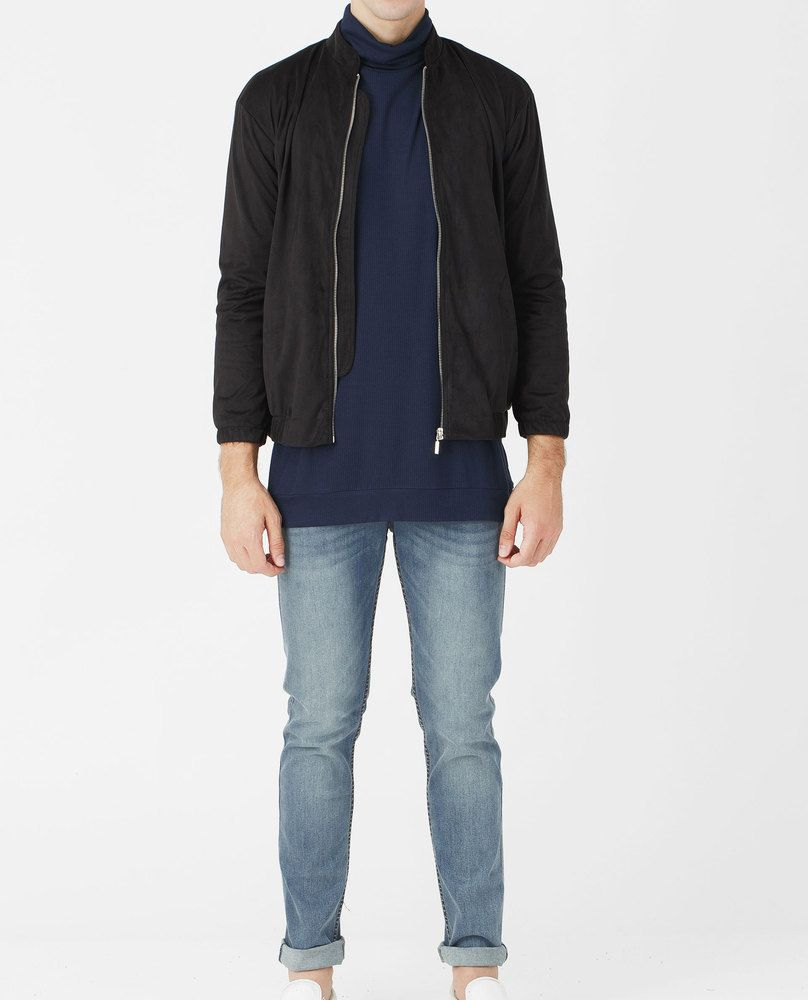 FAUX SUEDE BOMBER JACKET (BLACK)