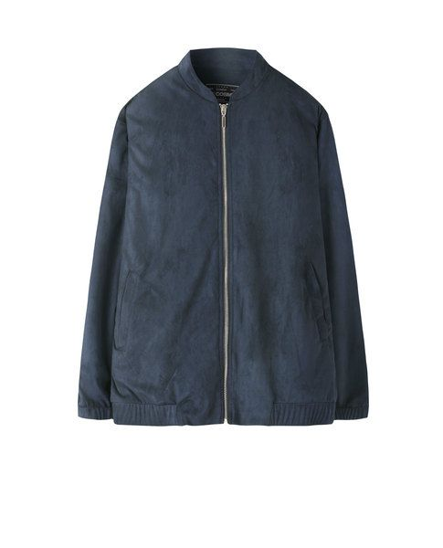 FAUX SUEDE BOMBER JACKET (NAVY)