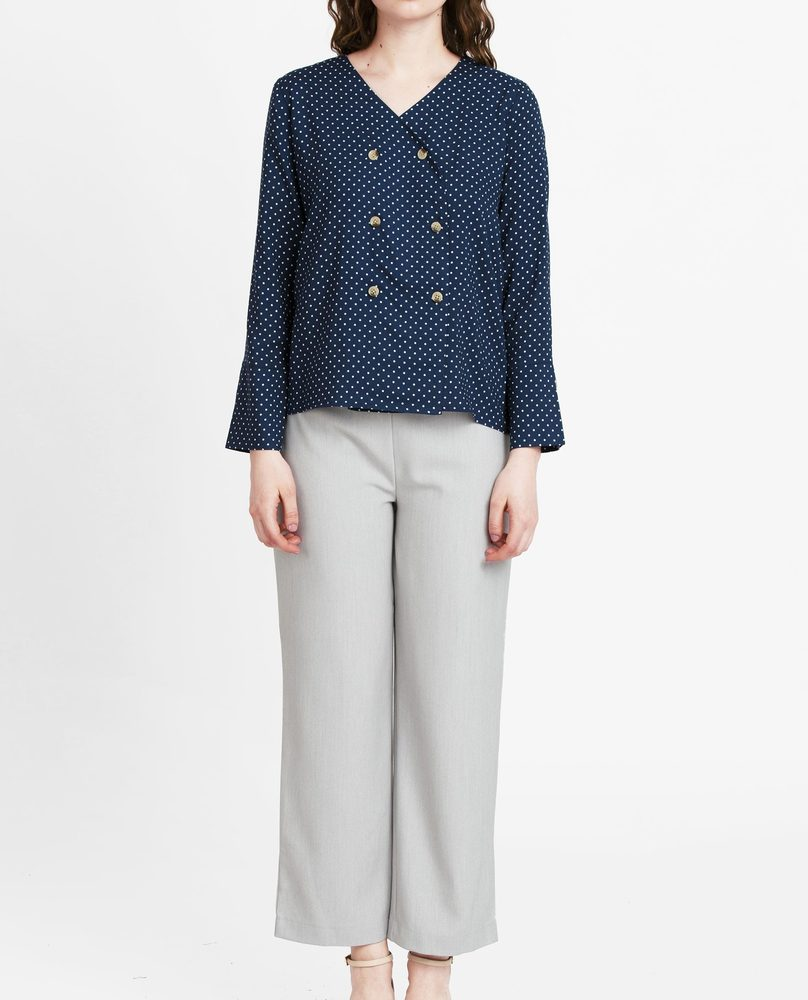 ASYMMETRIC BUTTON BLOUSE (NAVY )