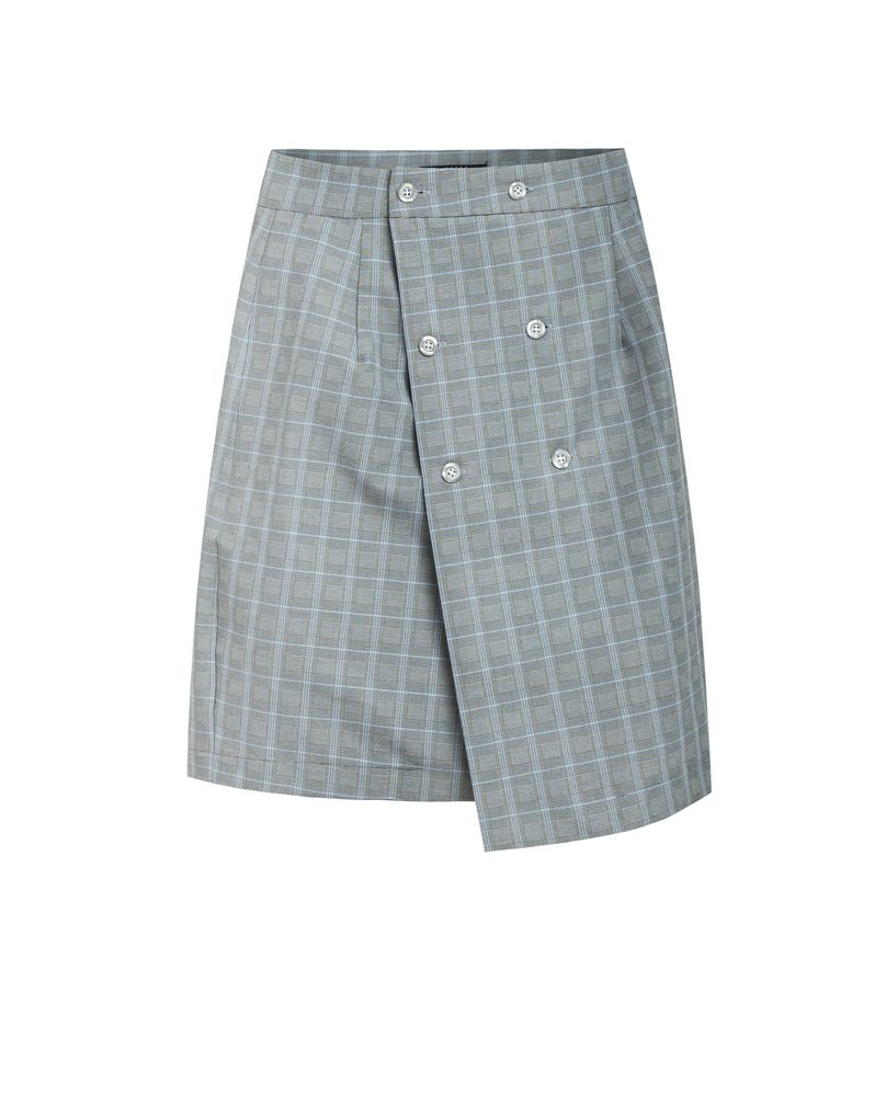 BUTTON SKIRT (CHECKED)