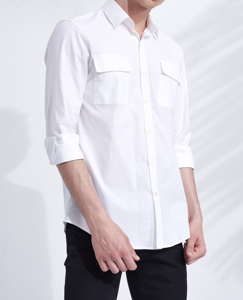 CHEST POCKET SHIRT (WHITE)