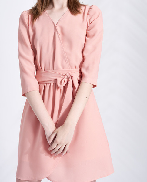 DRESS WITH TIE (PEACH)