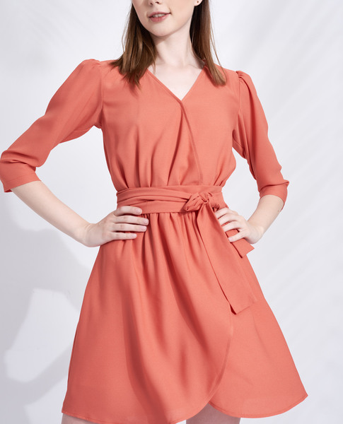 DRESS WITH TIE (ORANGE)