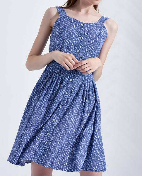 BOW BACK DRESS (BLUE)