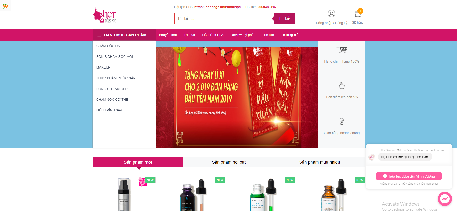giao diện trang chủ herskincare.vn