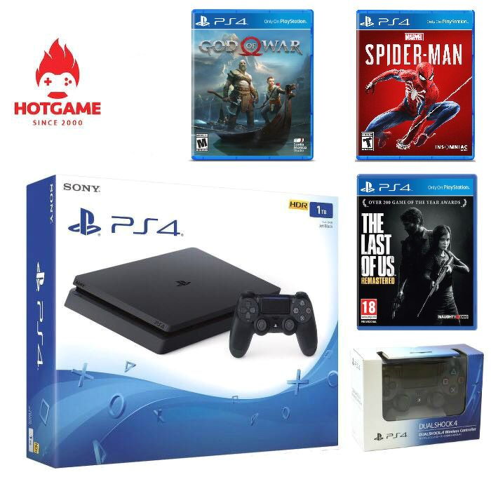 Máy PS4 slim 1T kèm 2 tay và 3 đĩa game: god of war 4, spider man và the last of us