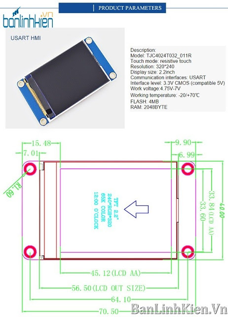 LCD TFT 2.2 UART HMI (Ver China)