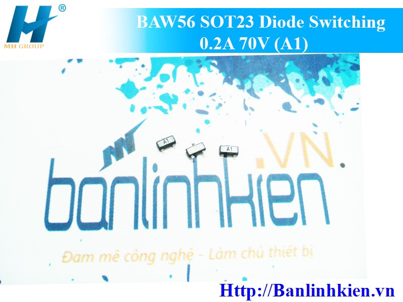 BAW56 SOT23 Diode Switching 0.2A 70V (A1)