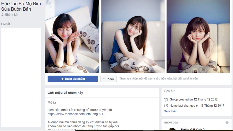 group Facebook mẹ bỉm sữa