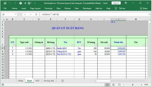 File excel xuất hàng