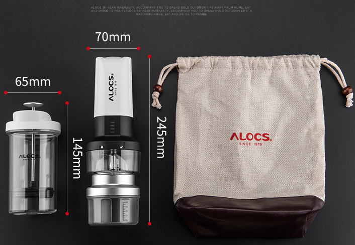 Alocs Portable Electric Coffee Maker Grinder