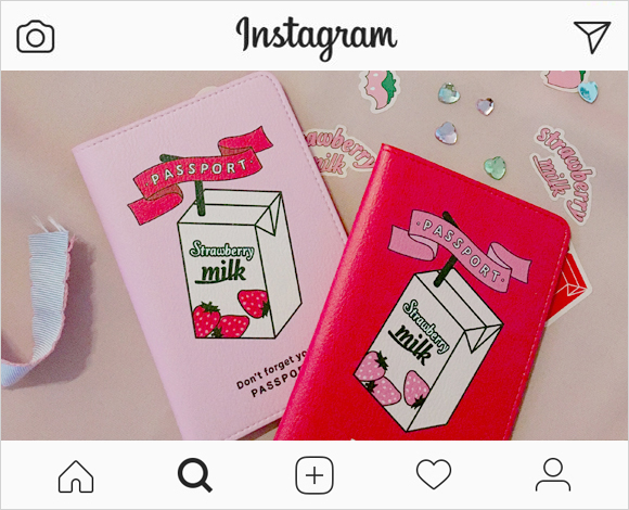 CHUU strawberry milk. Just Strawberry Passport Case