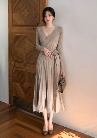 [CHUU] Ballerina Wrap Knit Dress
