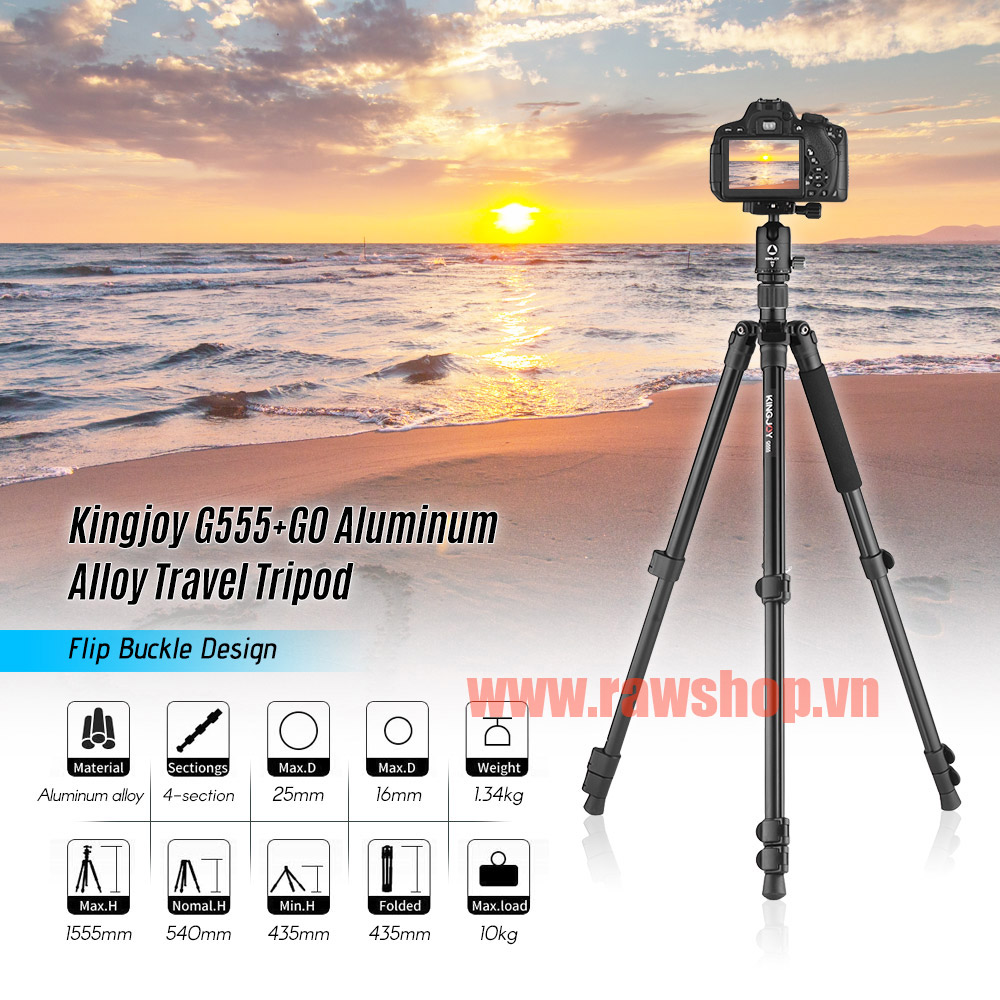 Kingjoy G555+G0 Aluminum Alloy Travel Tripod Monopod with Panoramic Ball head