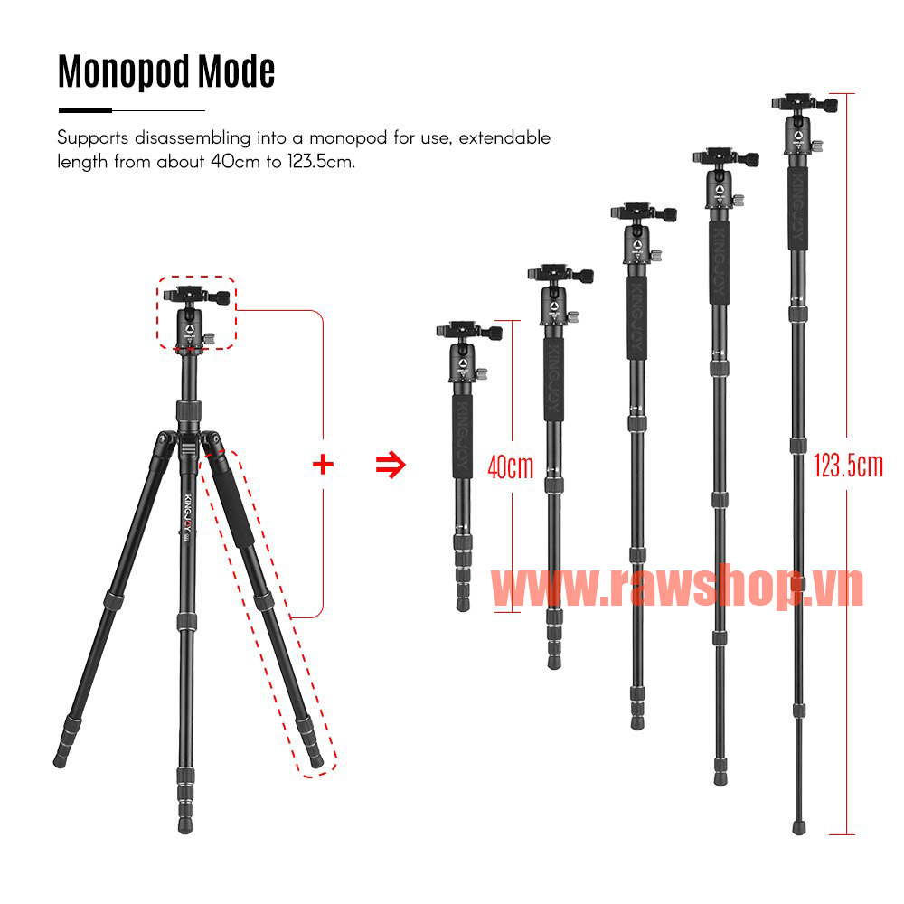 Kingjoy G22+G00 Portable Travel Camera Tripod Monopod with 360 Degree Ball Head