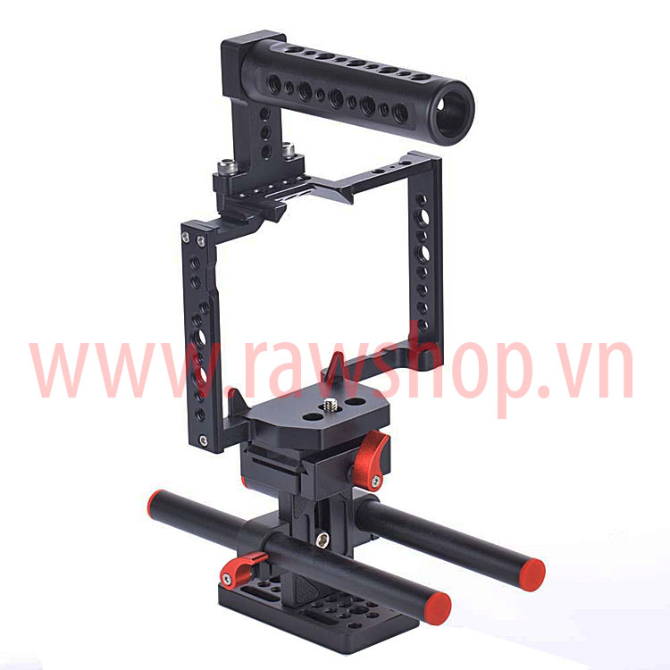 Small rig aluminium fit Panasonic GH4, GH5 with Handle grip và base plate