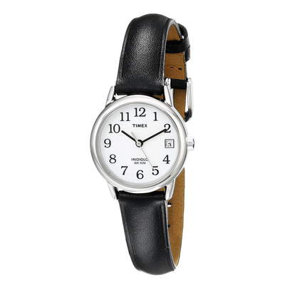 Đồng hồ Timex Women's T2H331 Easy Reader Black Leather Strap