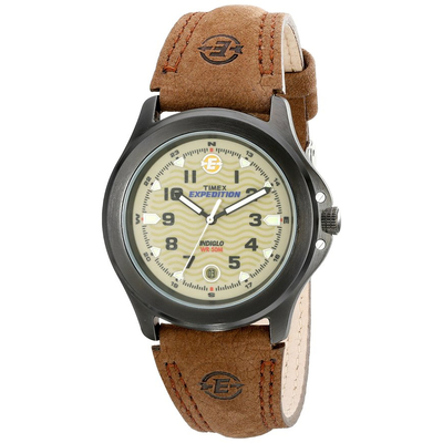 Timex® Men's Metal Field EXPEDITION® Brown Leather Strap Watch #T47012