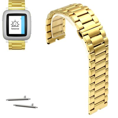 Quai thép 22mm Stainless Steel Butterfly Buckle cho Pebble Time, Time Steel 2015 - VÀNG