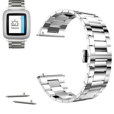Quai thép 22mm Stainless Steel Butterfly Buckle cho Pebble Time, Time Steel 2015 - BẠC