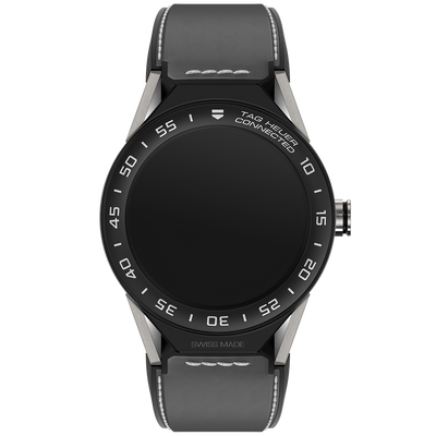 TAG HEUER CONNECTED MODULAR 45 - Grey calfskin strap with black ceramic bezel