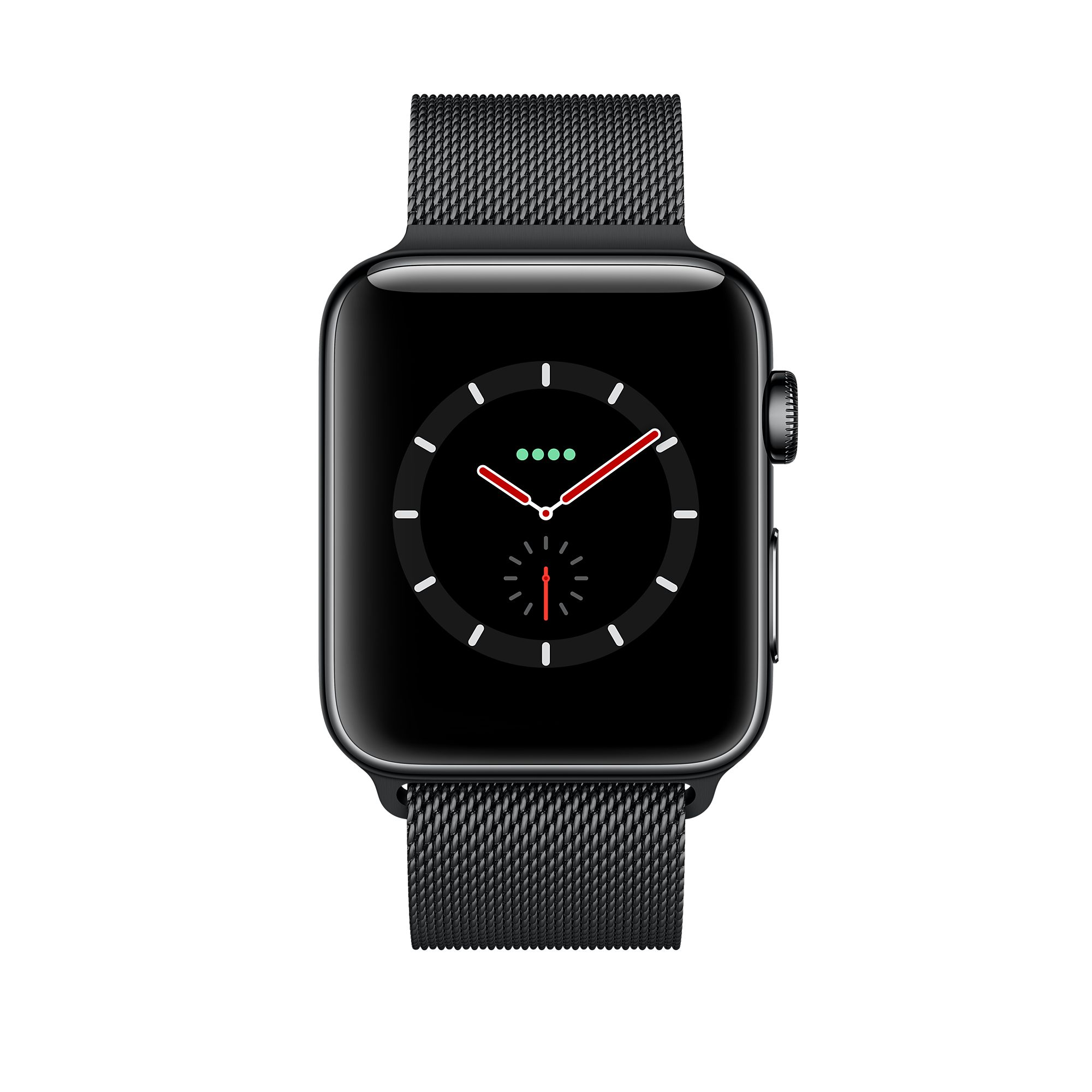 Apple Watch Series 3 GPS + Cellular 42mm, Space Black Stainless Steel Case with Space Black Milanese Loop