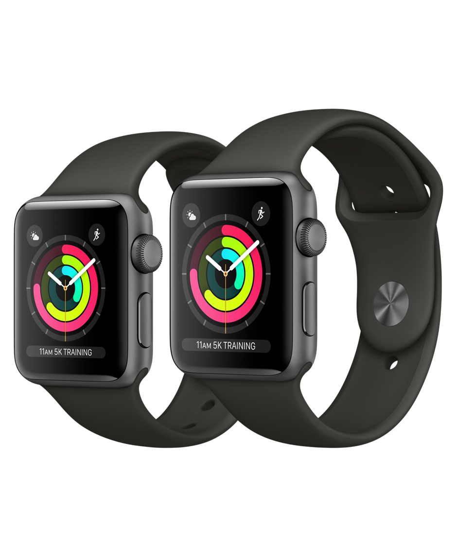 Apple Watch Series 3 GPS 42mm, Space Gray Aluminum - Gray Sport Band