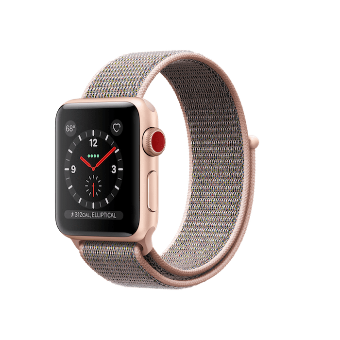Apple Watch Series 3 GPS + Cellular 38mm, Gold Aluminum Case with Pink Sand Sport Loop