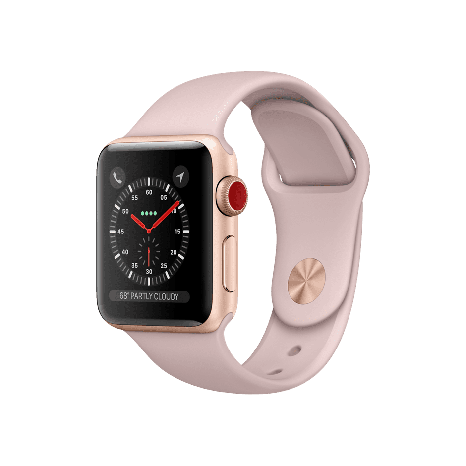 Apple Watch Series 3 GPS + Cellular 38mm, Gold Aluminum Case with Pink Sand Sport Band