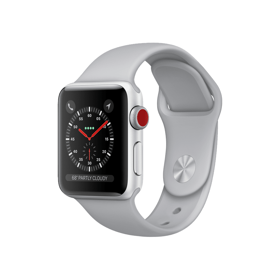Apple Watch Series 3 GPS + Cellular 38mm, Silver Aluminum Case with Fog Sport Band