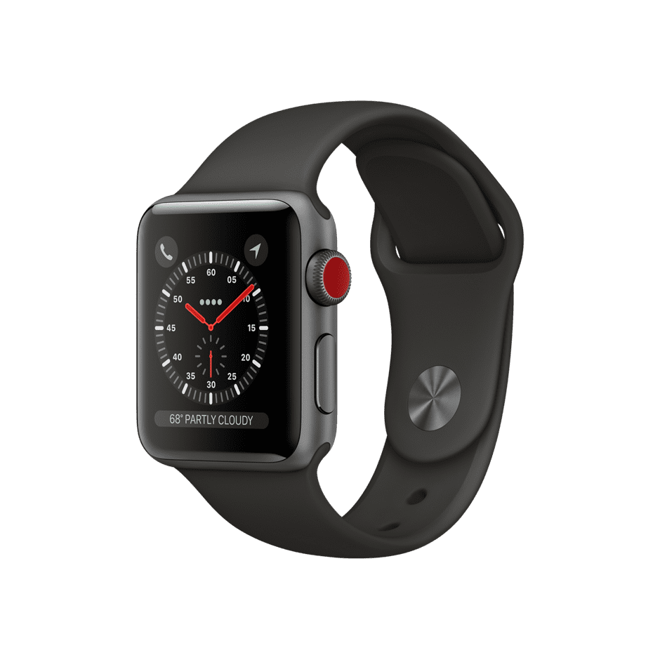 Apple Watch Series 3 GPS + Cellular 38mm, Space Gray Aluminum Case with Gray Sport Band