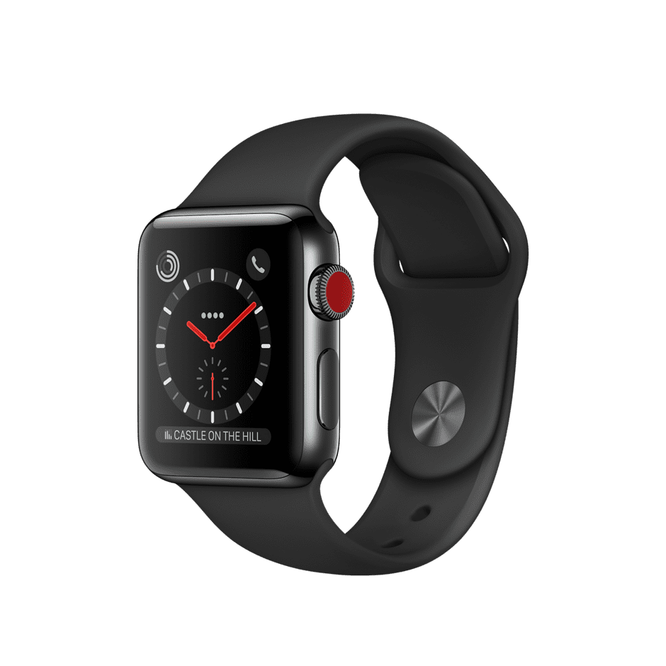 Apple Watch Series 3 GPS + Cellular 38mm, Space Black Stainless Steel Case with Black Sport Band