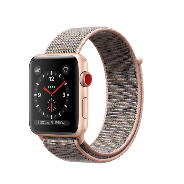 Apple Watch Series 3 GPS + Cellular 42mm, Gold Aluminum - Pink Sand Sport Loop
