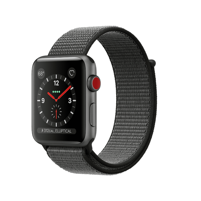Apple Watch Series 3 GPS + Cellular 42mm, Space Gray Aluminum - Dark Olive Sport Loop
