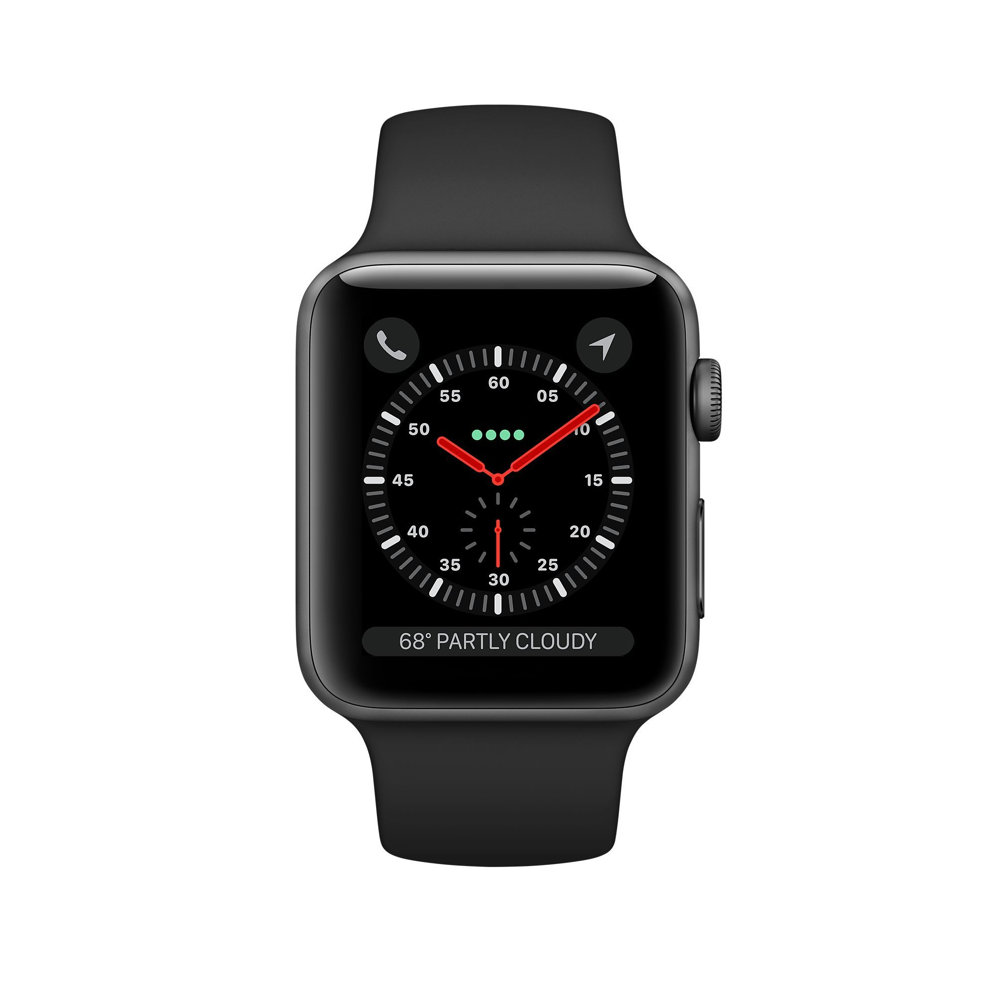 Apple Watch Series 3 GPS 38mm, Space Gray Aluminum - Black Sport Band