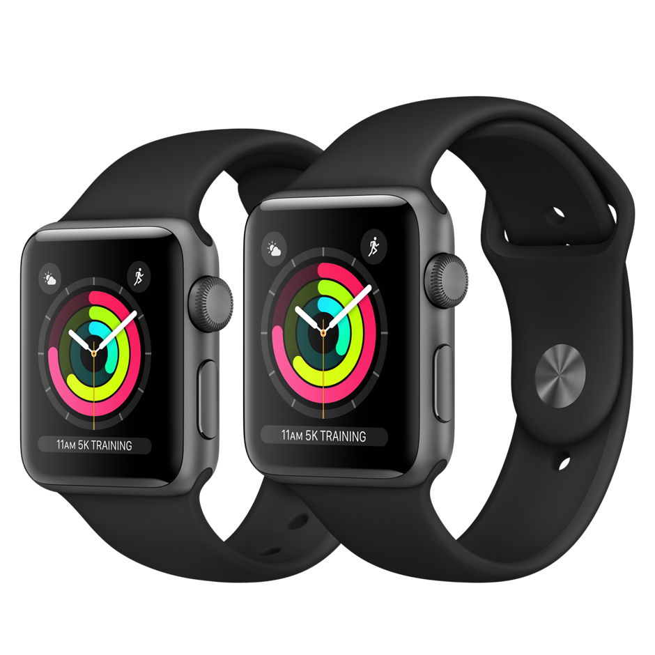 Apple Watch Series 3 GPS 42mm, Space Gray Aluminum - Black Sport Band