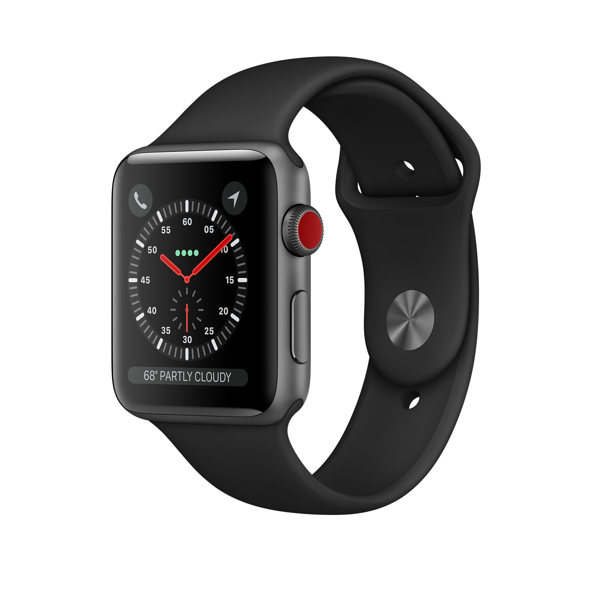Apple Watch Series 3 GPS + Cellular 42mm, Space Gray Aluminum - Black Sport Band
