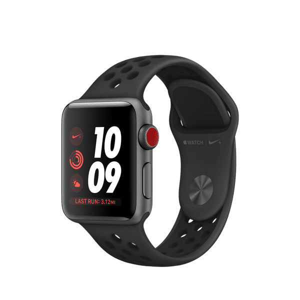 Apple Watch Nike+ GPS + Cellular Series 3, 38mm Space Gray Aluminum Case with Anthracite/Black Nike Sport Band