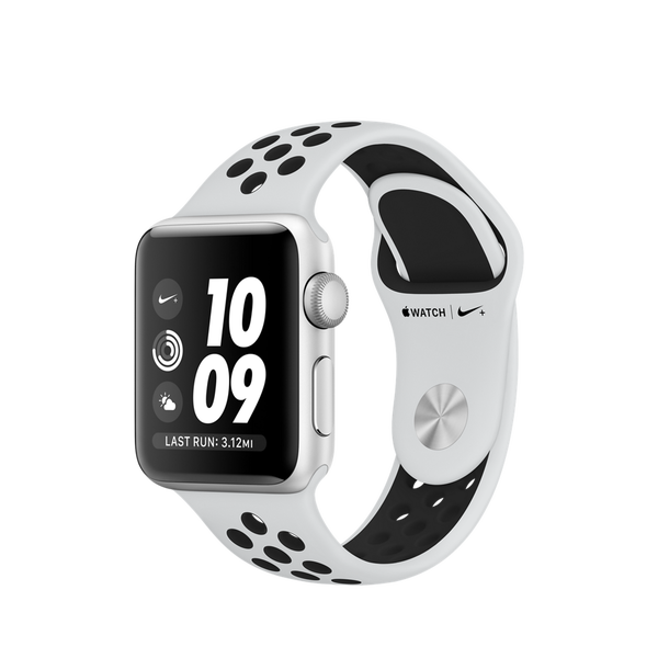 Apple Watch Nike+ GPS Series 3, 38mm Silver Aluminum Case with Pure Platinum/Black Nike Sport Band