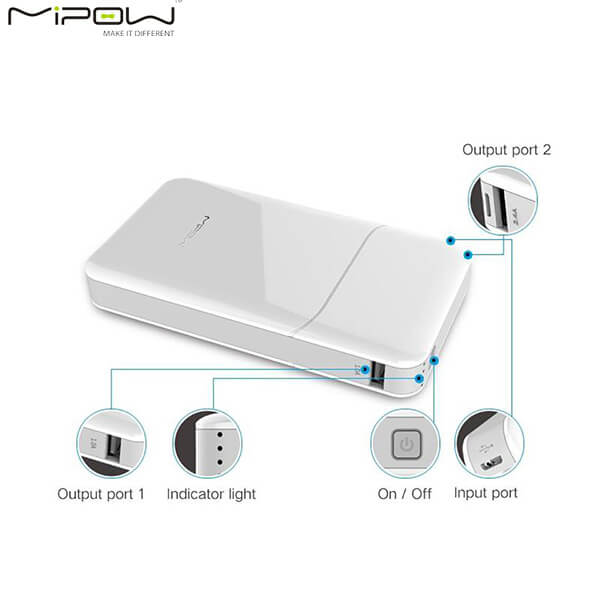 Pin dự phòng Mipow Power Cube 20000 mAh Quick Charge 3.0 (White)