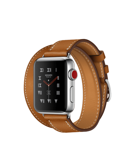 Apple Watch Hermès 38mm Stainless Steel Case with Fauve Barenia Leather Double Tour
