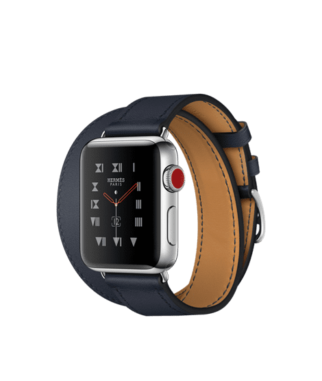 Apple Watch Hermès 38mm Stainless Steel Case with Indigo Swift Leather Double Tour