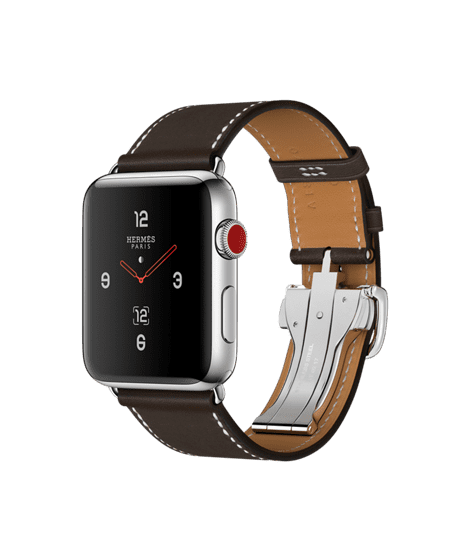 Apple Watch Hermès 42mm Stainless Steel Case with Ébène Barenia Leather Single Tour Deployment Buckle